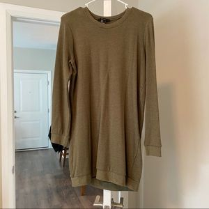 Olive green crew neck dress